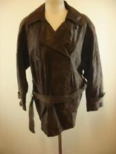 Womens M Preston & York brown double breasted leather pea coat jacket trench spy