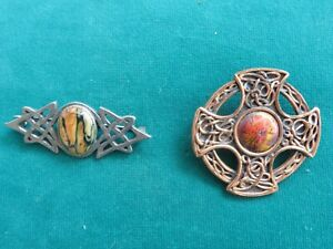 2 quality pretty Celtic ornate brooches with semi precious stones utter quality