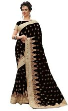 Women Sari Ethnic Designer Silk Embroidery Saree for Wedding Party wear (K700)