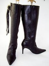 GEORGE Ladies Black Genuine Leather Stiletto Tassel Knee Length Boots UK 7 EU 40