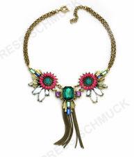 Halskette Statement Kette Designer Collier Blume Vintage Eule bunt Choker Neu