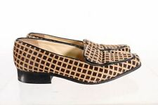 Jimmy Choo Made In Italy Brown Cow Hair Geometric Square Toe Loafers Sz 37