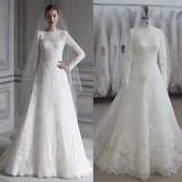 Muslim Full Lace Long Sleeve A Line Wedding Dresses White Ivory Bridal Gowns