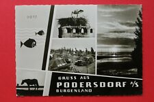 Burgenland AK Gruss aus Podersdorf 1960er Ortsansicht Zelte Storch PKW