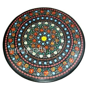 30 Inches Black Marble Patio Sofa Table Top Multi Gemstones Inlaid Coffee Table