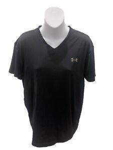 Under Armour Womens Black Short Sleeve V-Neck T-Shirt Medium