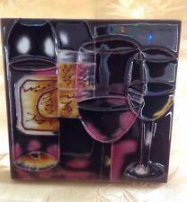 Ceramic Art Tile 4X4 Wine Bottles & Glasses Vibrant Art Hand Painted Wall Decor