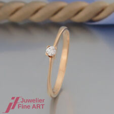 moderner Solitär - Ring mit 1 Brillant (Diamant) ca.0,07ct - in 18K/750 Gelbgold