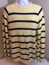 LL L.L. Bean Mens Large Tall LT Sweater Yellow Blue Stripes 100%Cotton USA Made