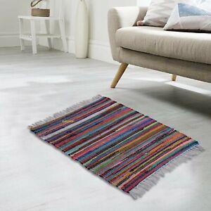 Chindi Rug 100%Natural Cotton Hand Woven 2x3 Feet Carpet Floor Mat Boho Rag Rug