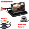 5'' Foldable Car Rear View Monitor Screen Reverse Backup Camera Wireless Kit HD