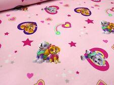 Stoff Baumwolle Jersey Paw Patrol Herzen rosa bunt Kinderstoff Kleiderstoff