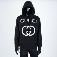 GUCCI 1280$ Hooded Sweatshirt With Interlocking G Print In Black Cotton