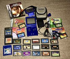 Nintendo Game Boy Advance SP Cobalt Handheld System W/22 Games Bundle Lot Extras