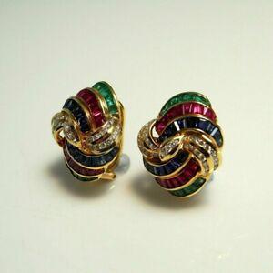 10k yellow gold over ruby,emerald,sapphire,diamond omega clip dome swirl earring