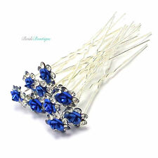 Bridal Wedding Prom Silver Crystal Diamante Rose Flower Hair Pins Clips Grips