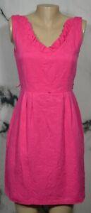 TIANA B. Pink Ruffled Neckline Cotton Jacquard Sleeveless Dress 6 Lined Bodice