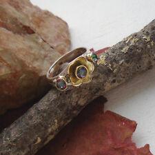 Mystic Topas, rund, vergoldet, Blüte, Ring, Ø 18,5 mm, 925 Sterling Silber, neu
