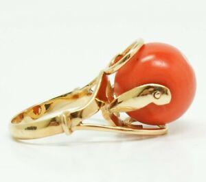 Continental 14K Gold Vivid Orangey Pink Coral MCM Design Ladies Ring Size 6.5