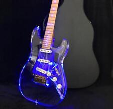 Crystal Electric Guitar LED Light Acrylic Body CNC Made Alnico Pickups Brass Nut
