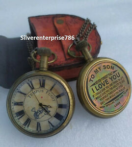 Nautical Brass Antique Pocket Watch To my son Collectibles Clock W Leather Case