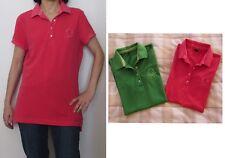 Stock n. 2 maglie donna stile polo Benetton, colore rosa rosso e verde, taglia M