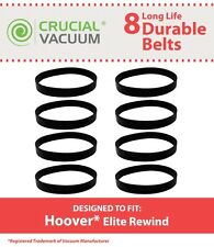 8 Durable Hoover Elite Rewind Vacuum Belts # 40201190 & 38528040