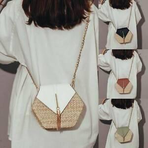 Women Summer Straw Shoulder Bags Rattan Bag HandWoven Beach Crossbody Handbag