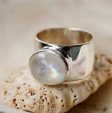 Massiv Silberring 55 Mondstein Oval Quer Weiß Bunt Schimmer Schlicht Silber Ring