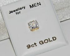 9CT YELLOW GOLD 5mm PRINCESS CUT SQUARE MEN'S SINGLE STUD EARRING