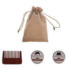 3pc Men's Gift Kit Natural Beard Balm Mustache Wax Cream Grooming Brush Comb