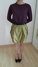 CUE Metallic gold bronze bubble mini skirt with black contrast waistband Size 8