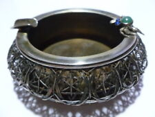 VINTAGE JAPANESE ORIENTAL STERLING SILVER CRAB JADITE CIGARETTE ASHTRAY ASH TRAY