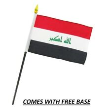 IRAQ  FLAG DESK SET WITH BASE 4x6 INCHES - TABLE STICK FLAG
