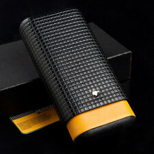 COHIBA Black&Yellow Leather Lined Cedar Wood 3 Tube Travel Cigar Case Humidor