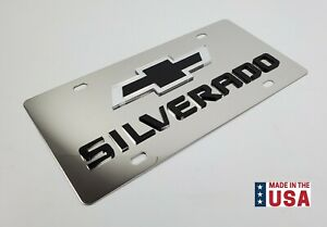 Chrome Chevy Silverado Bowtie Emblem License Plate w/ 3D Black Logo