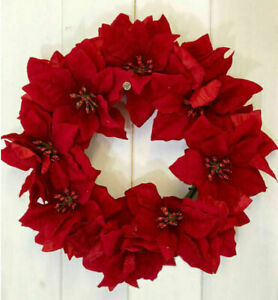 Artificial Red Poinsettia Wreath