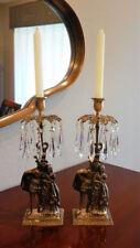 Vintage Pair (2) Brass Waterfall Design Girandole Candle Holders