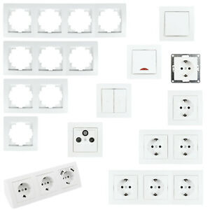 Schalterserie FLAIR für Unterputz Licht-Schalter, Doppel-Steckdose Kombischalter