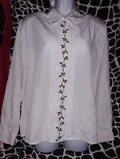 Apparenza Blouse Ladies medium white holly Christmas Holiday long sleeve