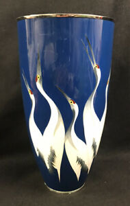 "Japanese Cloisonne Vase Cranes Ando ? Tamura ? 12.5"" Presentation Gift 1950-1960"