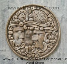 """History MAYAN AZTEC CEREMONIAL Sculptural wall relief plaque 17"""" Age stone"""
