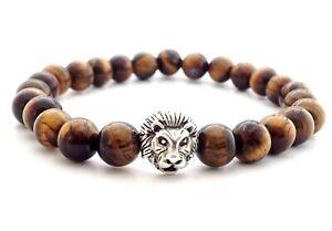 MEN'S Tiger Eye Lion Head Sterling Silver 925 Beaded Stretch Jewelry Bracelet