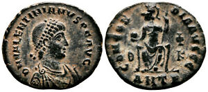 VALENTINIAN II (378-383 AD) Ae3 Follis. Antioch #VR 8242