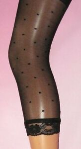 Spotty Square Black 3/4 Footless Tights Lace Trim XS/S Ladies Semi Sheer dot