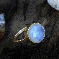 AAA Faceted Rainbow Moonstone Gemstone 14K Yellow Gold June Birthstone Ring