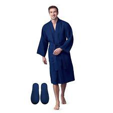 Lotus Linen Men Bath Robe  Waffle Square Pattern Spa Garment with 2 Front Pocket