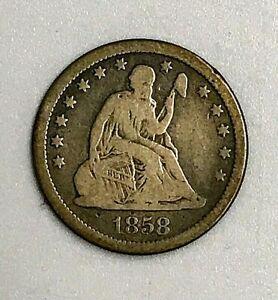 1858 seated liberty quarter