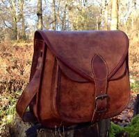 RARE fait à la main créateur véritable cuir sacoche selle Sac rétro rustique
