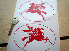 "MOBIL RED PEGASUS 5"" Oval handed Hot Rod Decal StickersCustom retro Bobber etc"